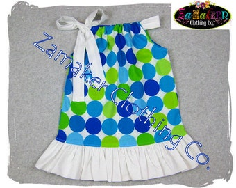 Pillowcase Dresses - Aqua, Lime and Blue Dot - Girls Pillowcase Dresses Boutique in Sizes newborn - 8