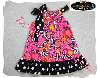 Girls Pillowcase Dress - Zebra n' Floral - Girls Pillowcase Dress Boutique in Sizes newborn - 8