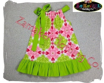 Girls Pillowcase Dress - Pink n' Lime - Girls Pillowcase Dress in Sizes 3, 6, 9, 12, 18, 24 month, 2, 2t, 3t, 3, 4, 4t, 5, 6, 7, 8