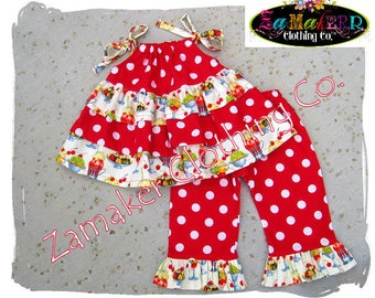 Custom Boutique Clothing Ice Cream N' Dots Ruffled Tiered Top Ruffled Pant Outfit Set 3 6 9 12 18 24 month size 2T 2 3T 3 4T 4 5T 5 6 7 8