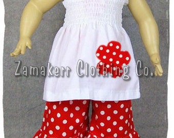 Girl Clothes Boutique Clothing White Smocked Top Polka Dot Ruffled Pant Outfit Set 3 6 9 12 18 24 month size 2T 2 3T 3 4T 4 5T 5 6 7 8