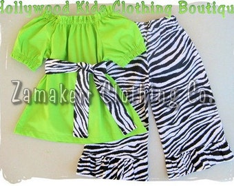 Custom Boutique Clothing Peasant Dress Top w/ Sash Funky Zebra Ruffled Pant Outfit Set 3 6 9 12 18 24 month size 2T 2 3T 3 4T 4 5T 5 6 7 8