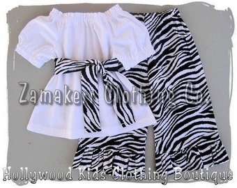 Custom Boutique Clothing Peasant Dress Top Funky Zebra Ruffled Pant Outfit Set 3 6 9 12 18 24 month 2T 2 3T 3 4T 4 5T 5 6 7 8