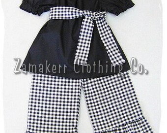 Custom Boutique Clothing Black Peasant Dress Top Black White Gingham Ruffle Pant Outfit Set 3 6 9 12 18 24 month 2T 2 3T 3 4T 4 5T 5 6 7 8