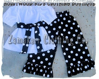 Custom BoutiqueClothing White Peasant Dress Top Black Polka Dot Ruffled Pant Outfit Set Set 3 6 9 12 18 month 2T 2 3T 3 4T 4 5T 5 6 7 8