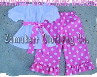 Custom Boutique Clothing White Peasant Dress Top Pink Polka Ruffled Pant Outfit Set Set 3 6 9 12 18 month size 2T 2 3T 3 4T 4 5T 5 6 7 8