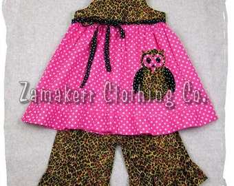 Custom Boutique Clothing Leopard N Dots Aline Dress Top Ruffle Pant Bottom Outfit Set 3 6 9 12 18 24 month size 2T 2 3T 3 4T 4 5T 5 6 7 8