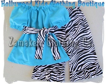 Custom Boutique Clothing Peasant Dress Top Funky Zebra Ruffled Pant Outfit Set 3 6 9 12 18 24 month size 2T 2 3T 3 4T 4 5T 5 6 7 8