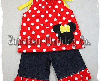 Custom Boutique Clothing Red Polka Dot Minnie Mouse Top Denim Ruffle Pant Outfit Set 3 6 9 12 18 24 month 2T 2 3T 3 4T 4 5T 5 6 7 8
