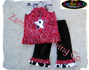 Girl Cow Outfit Pant Set - Girl Farm Birthday Party - Cow N Bandana Top Ruffle Pant Set 3 6 9 12 18 24 month size 2t 2 3t 3 4t 4 5t 5 6 7 8