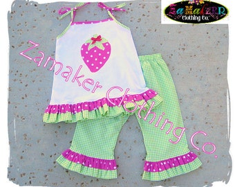 Girl Strawberry Outfit Set - Strawberry Shortcake Birthday Party Outfit 3 6 9 12 18 24 month size 2T 2 3T 3 4T 4 5T 5 6 7 8
