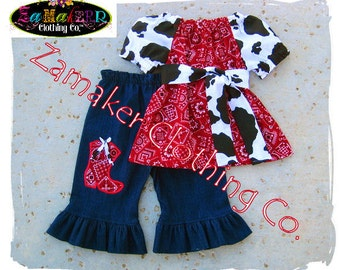 Girl Cow Denim Outfit Set - Girl Farm Birthday Party - Cow N Bandana Top Denim Pant Set 3 6 9 12 18 24 month size 2t 2 3t 3 4t 4 5t 5 6 7 8
