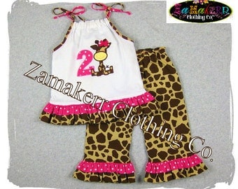 Giraffe Girl Outfit Set - Birthday Girl Outfit Set  - Toddler Infant Baby Girl Clothes 3 6 9 12 18 24 month size 2T 2 3T 3 4T 4 5T 5 6 7 8