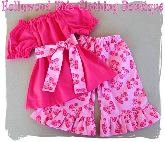 Custom Children Boutique Unique Handmade Cute Infant Baby Girl Clothing Hot Pink Peasant Dress Top w/ Sash Butterfly Ruffled Pant Outfit Set 3 6 9 12 18 24 month 2T 2 3T 3 4T 4 5T 5 6 7 8
