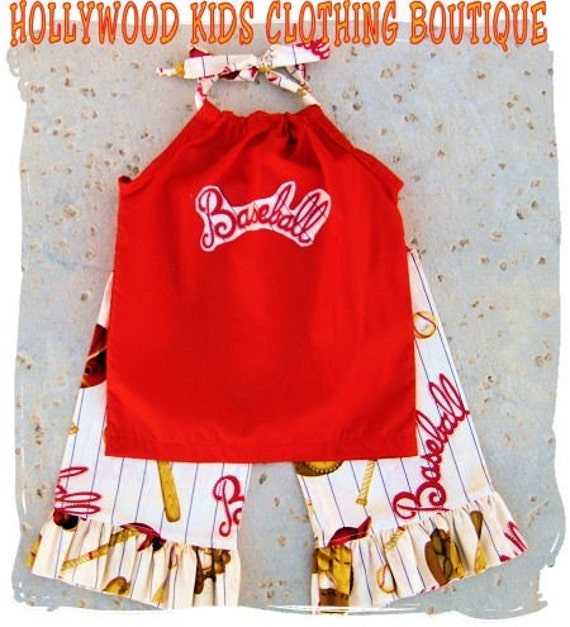Custom Boutique Clothing Baseball Red Summer Halter Dress Top Ruffled Pant Outfit Set 3 6 9 12 18 24 month 2T 2 3T 3 4T 4 5T 5 6 7 8