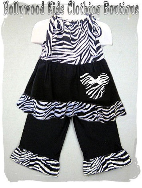 Custom Boutique Girl Clothing Funky Zebra Pillowcase Top Black Ruffled Pant Outfit Set 3 6 9 12 18 24 month size 2T 2 3T 3 4T 4 5T 5 6 7 8