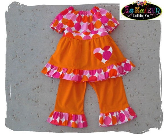 Custom Boutique ClothingPeasant Twirl Tunic Dress Top Orange Ruffle Pant Outfit Set 3 6 9 12 18 24 month size 2T 2 3T 3 4T 4 5T 5 6 7 8