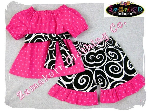 Custom Boutique Clothing Pink Peasant Dress Top Black Swirls Ruffle Pant Outfit Set 3 6 9 12 18 24 month size 2T 2 3T 3 4T 4 5T 5 6 7 8