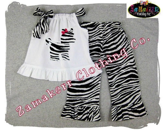 Custom Boutique Clothing White Tunic Pillowcase Dress Top Zebra Ruffle Pant Outfit Set 3 6 9 12 18 24 month size 2T 2 3T 3 4T 4 5T 5 6 7 8