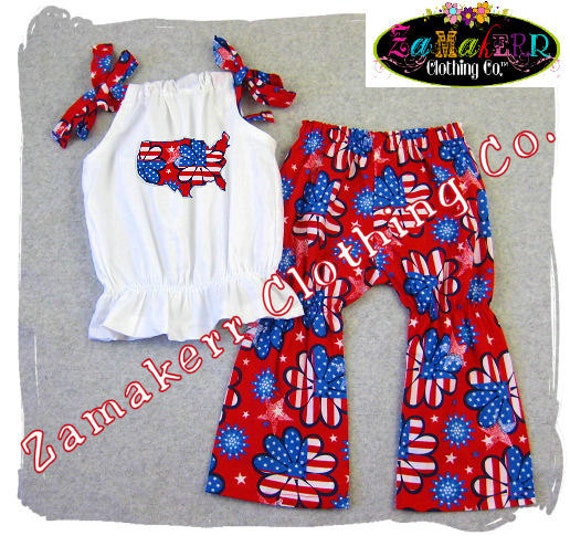 Fourth 4th July Girl Outfit Boutique By Zamakerrclothingco