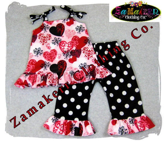 Custom Boutique Clothing Valentines Day Hearts Aline Dress Top Ruffle Pant Outfit Set 3 6 9 12 18 24 month size 2T 2 3T 3 4T 4 5T 5 6 7 8