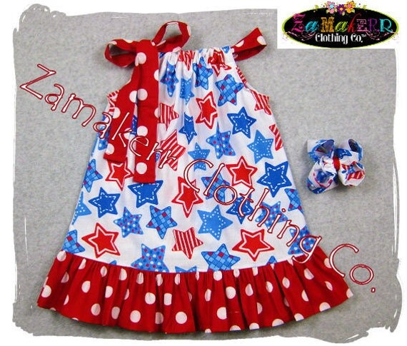Girls Pillowcase Dress - 4TH of FOURTH JULY - Pillowcase Dress in Sizes 3, 6, 9, 12, 18, 24 month, 2, 2t, 3t, 3, 4, 4t, 5, 6, 7, 8