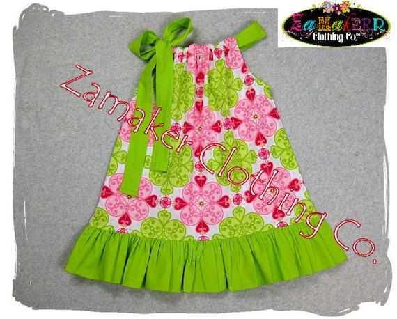 Girls Pillowcase Dress - Pink n' Lime - Girls Pillowcase Dress in Sizes 3, 6, 9, 12, 18, 24 month, 2, 2t, 3t, 3, 4, 4t, 5, 6, 7, 8