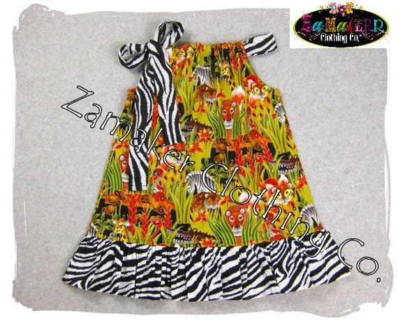 Girls Pillowcase Dress - Funky Zebra Safari Jungle - Girls Pillowcase Dress in Sizes 3, 6, 9, 12, 18, 24 month, 2, 2t.