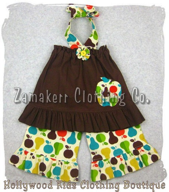 Custom Boutique Clothing Brown Pillowcase Dress Top Pear Fruit Ruffle Pant Outfit Set 3 6 9 12 18 24 month size 2T 2 3T 3 4T 4 5T 5 6 7 8