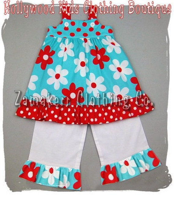 Custom Boutique Clothing Floral N' Dot Jumper Dress Top White Ruffle Pant Outfit Set 3 6 9 12 18 24 month size 2T 2 3T 3 4T 4 5T 5 6 7 8