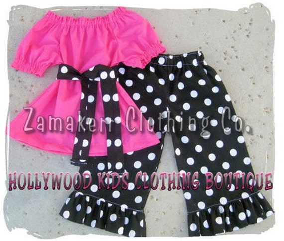 Custom Boutique Clothing Pink Peasant Dress Top Black Polka Dot Ruffled Pant Outfit Set Set 3 6 9 12 18 24 month 2T 2 3T 3 4T 4 5T 5 6 7 8