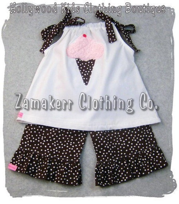 Custom Boutique Clothing White Applique Pillowcase Top Polka Dot Ruffle Pant Outfit Set 3 6 9 12 18 24 month size 2T 2 3T 3 4T 4 5T 5 6 7 8