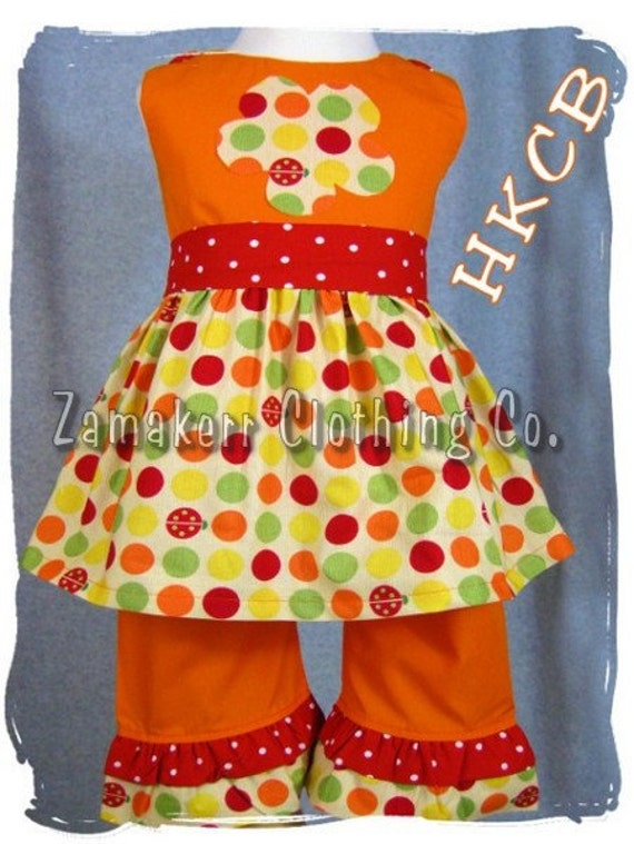 Custom Boutique Baby Girl Clothes Clothing Rainbow Dot Top Orange Ruffle Pant Outfit Set 3 6 9 12 18 24 month size 2T 2 3T 3 4T 4 5T 5 6 7 8