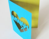 Papercut Mwah Greetings Card - Hand Cut To Order Any Colour