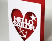 Hello Sailor Papercut Greetings Card - Hand Cut In your Choice of Colour