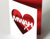 Papercut Anniversary or Valentines Day Greetings Card - Mwah - White