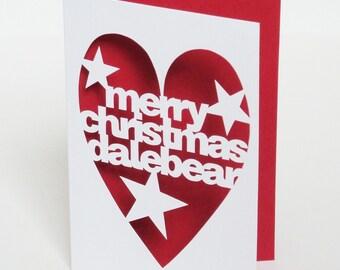 Hand Cut Personalised Merry Christmas Greetings Card