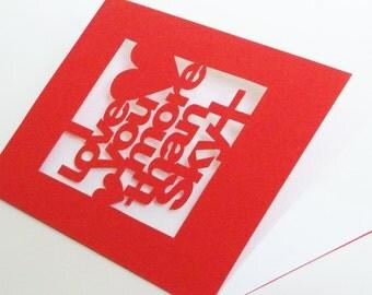Papercut Personalised I Love You More Than Greetings Card - Sky Plus  or You Choose - Hand Cut