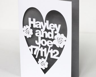 Personalised Hand Cut Wedding Day or Anniversary Card