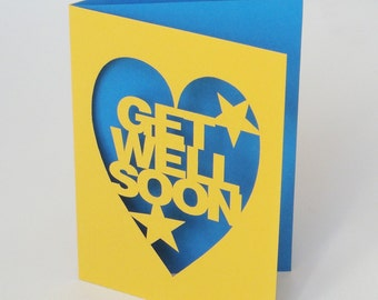 Get Well Soon Papercut Greetings Card Range of Colours