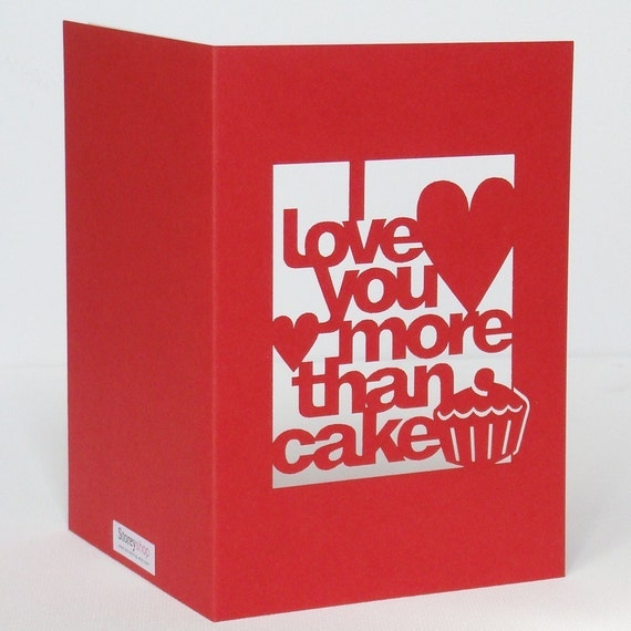 Red Cut-Out 'I Love You More Than Cake' Card