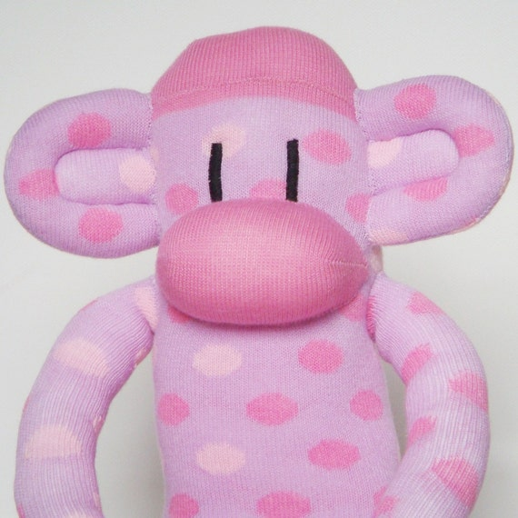 SALE Sock Monkey - Pink and Lilac Spotty - IN STOCK