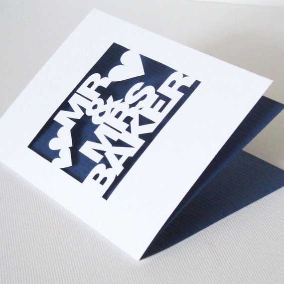 Personalised Mr And Mrs Hand Cut Wedding or Anniversary Card