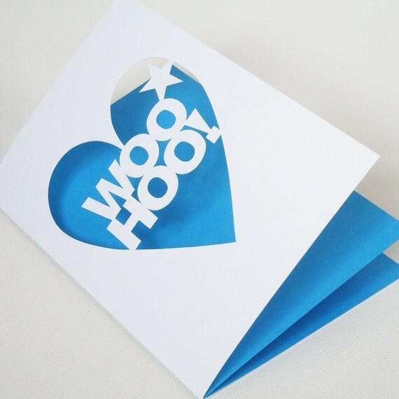 Woo Hoo Papercut Celebration Greetings Card