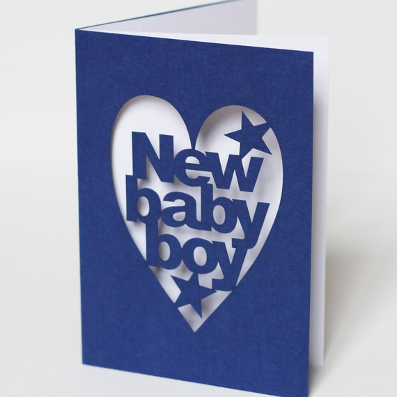 New Baby Boy Papercut Congratulations Greeting Card