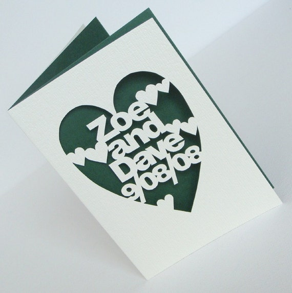 Personalised Hand-Cut Wedding or Anniversary Card