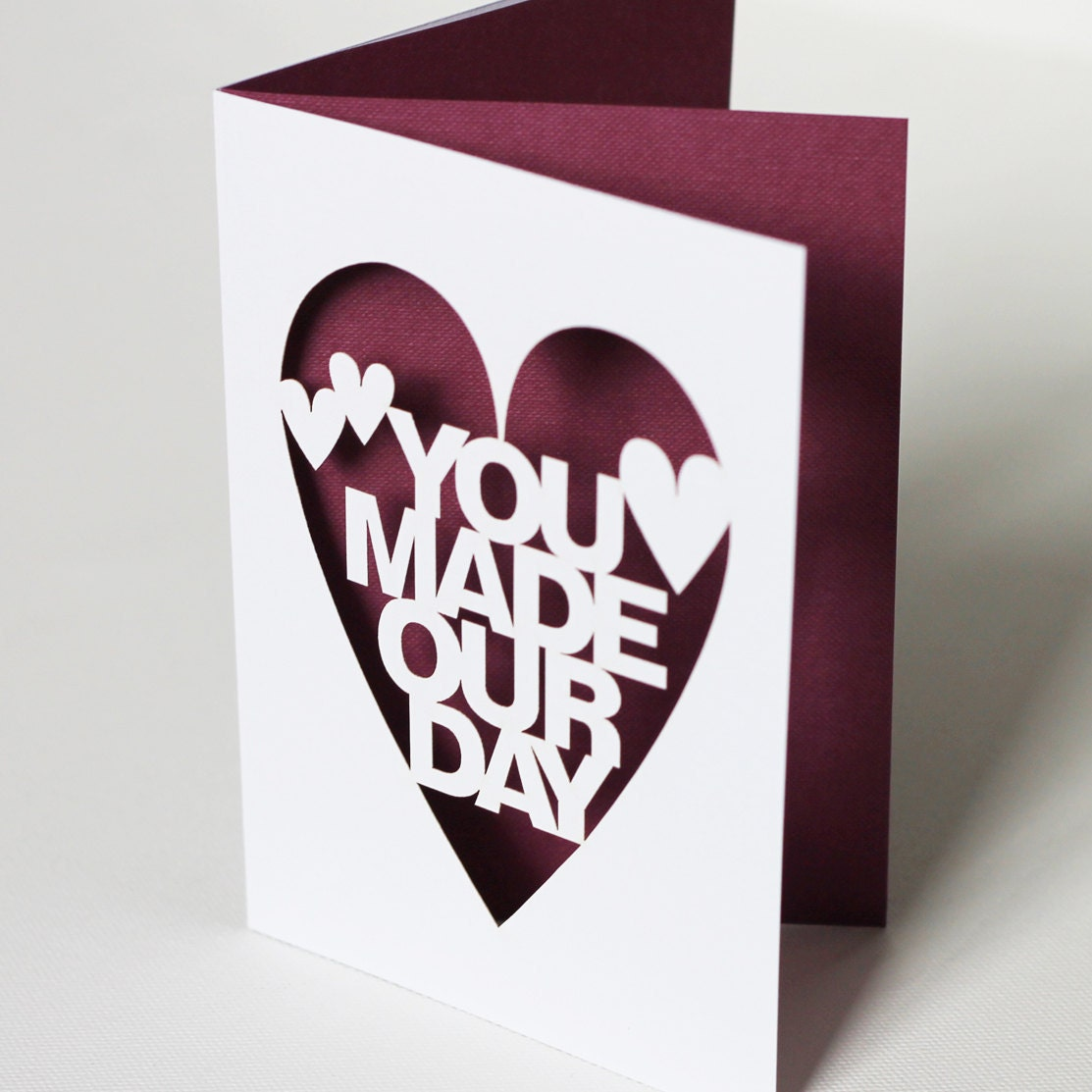 You Made Our Day Papercut Wedding Thank You Card