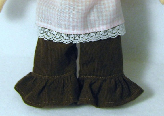 Brown cord ruffle pants for 8 inch waldorf doll