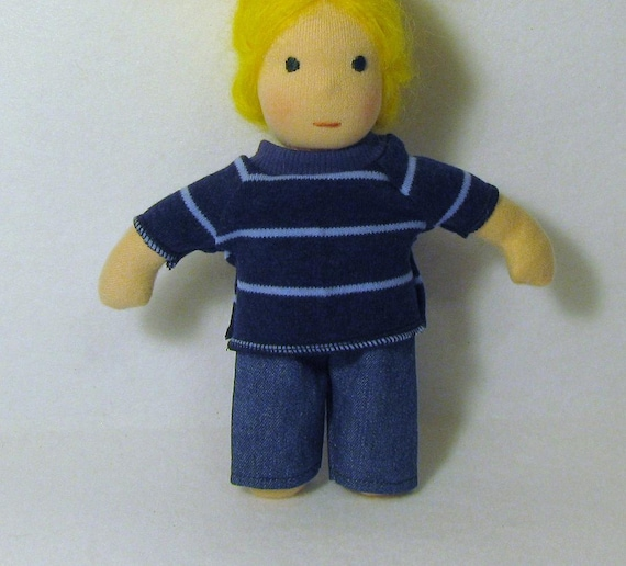 Blue stripe knit top for thinner 8 inch waldorf doll