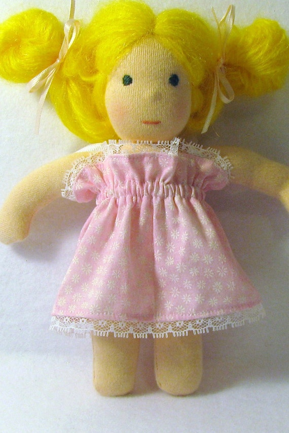 8 inch Waldorf doll dress in pink with lace trim